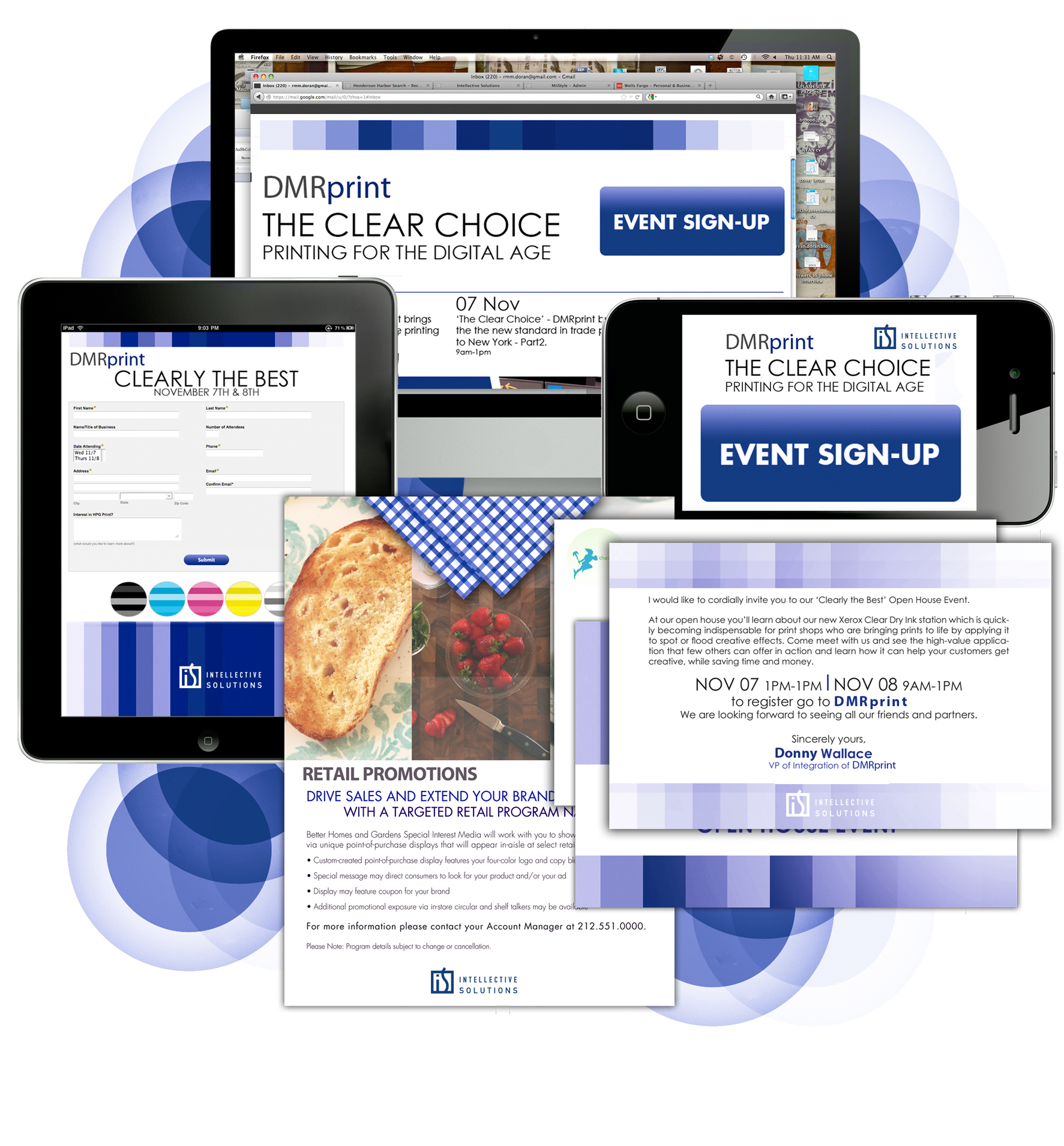 customer event open house solution, offering cross-platform, custom designed pieces including save the date emails and postcards, registration pages, and more.