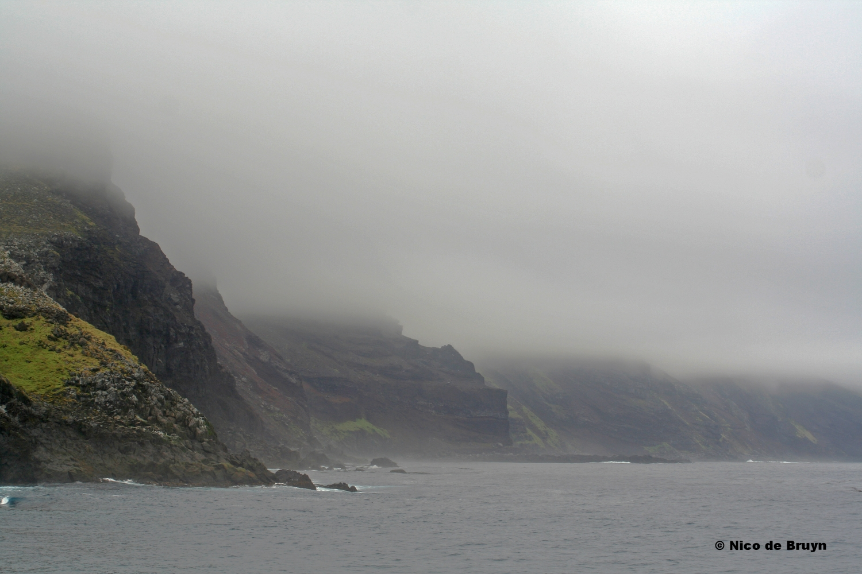 Misty cliffs in Crawford Bay, south coast of Marion Island. Photo credit: Nico de Bruyn