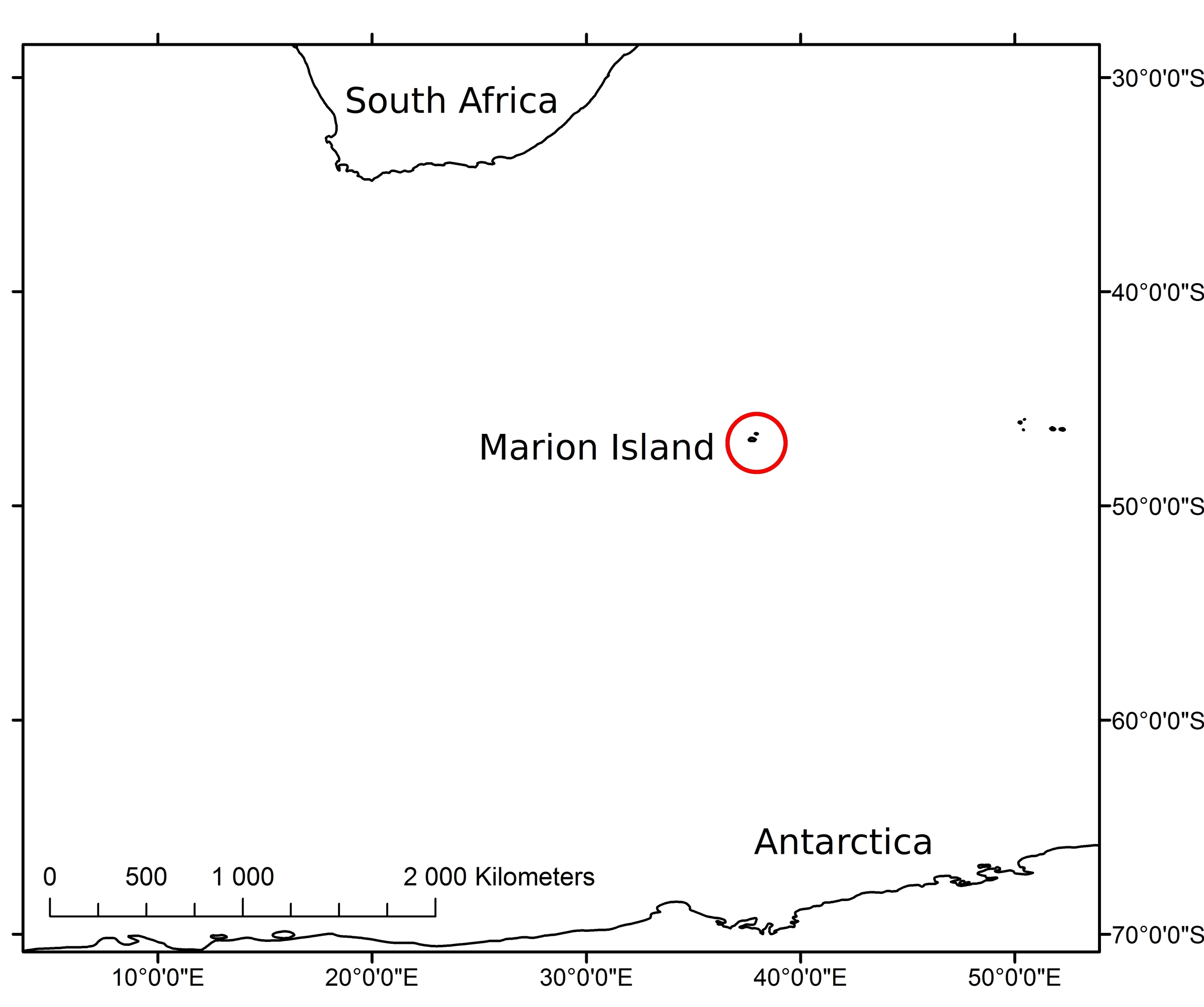 Figure 1: The position of Marion Island in relation to South Africa and Antarctica