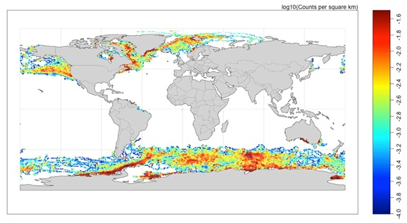 Figure 2: The data density distribution of CTD profiles from the Marine Mammals Exploring the Oceans Pole to Pole (MEOP)-CTD database.