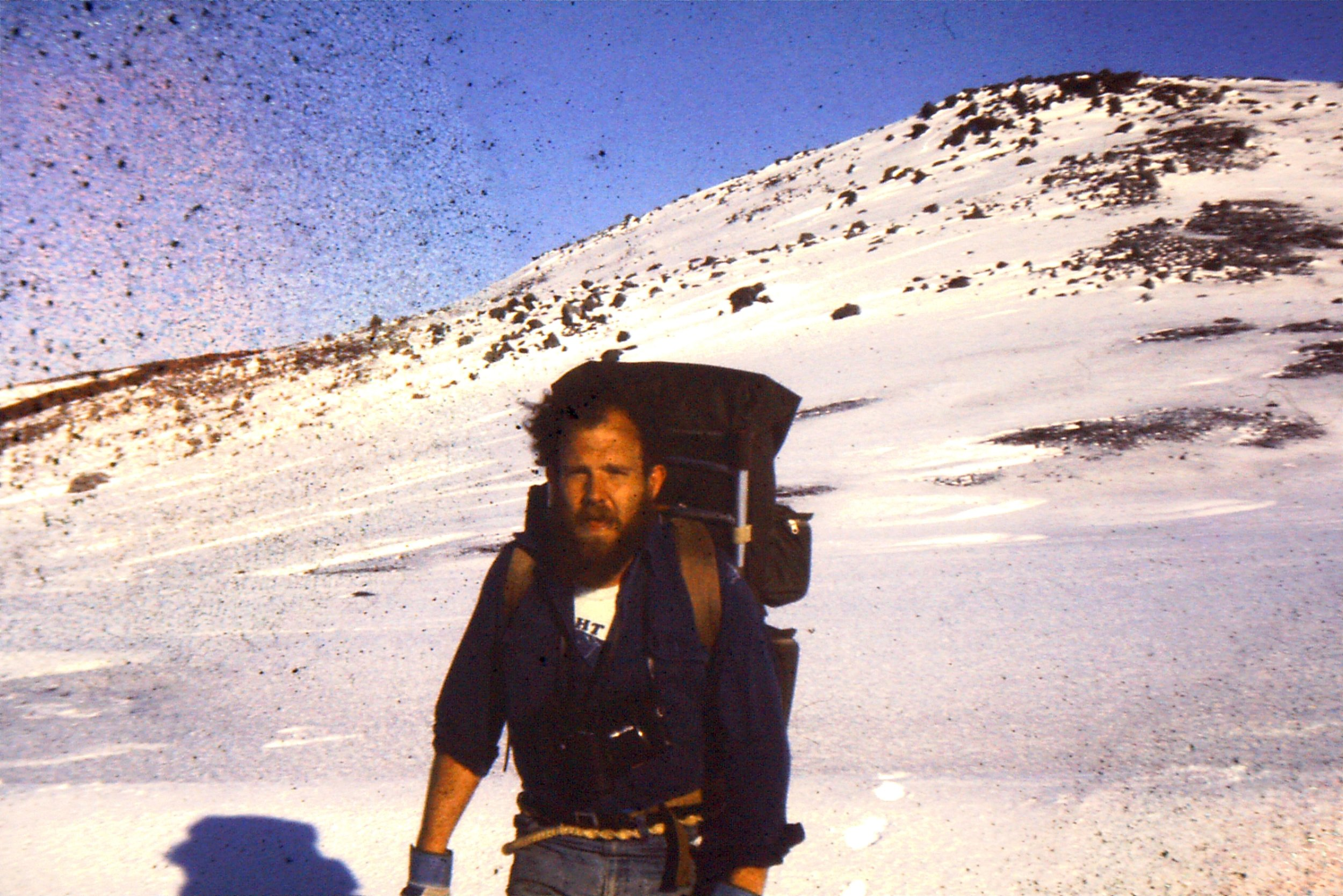 A young Marthan Bester traversing the snowy mountains of Marion Island in the 1970's. Photo: Grant Craig