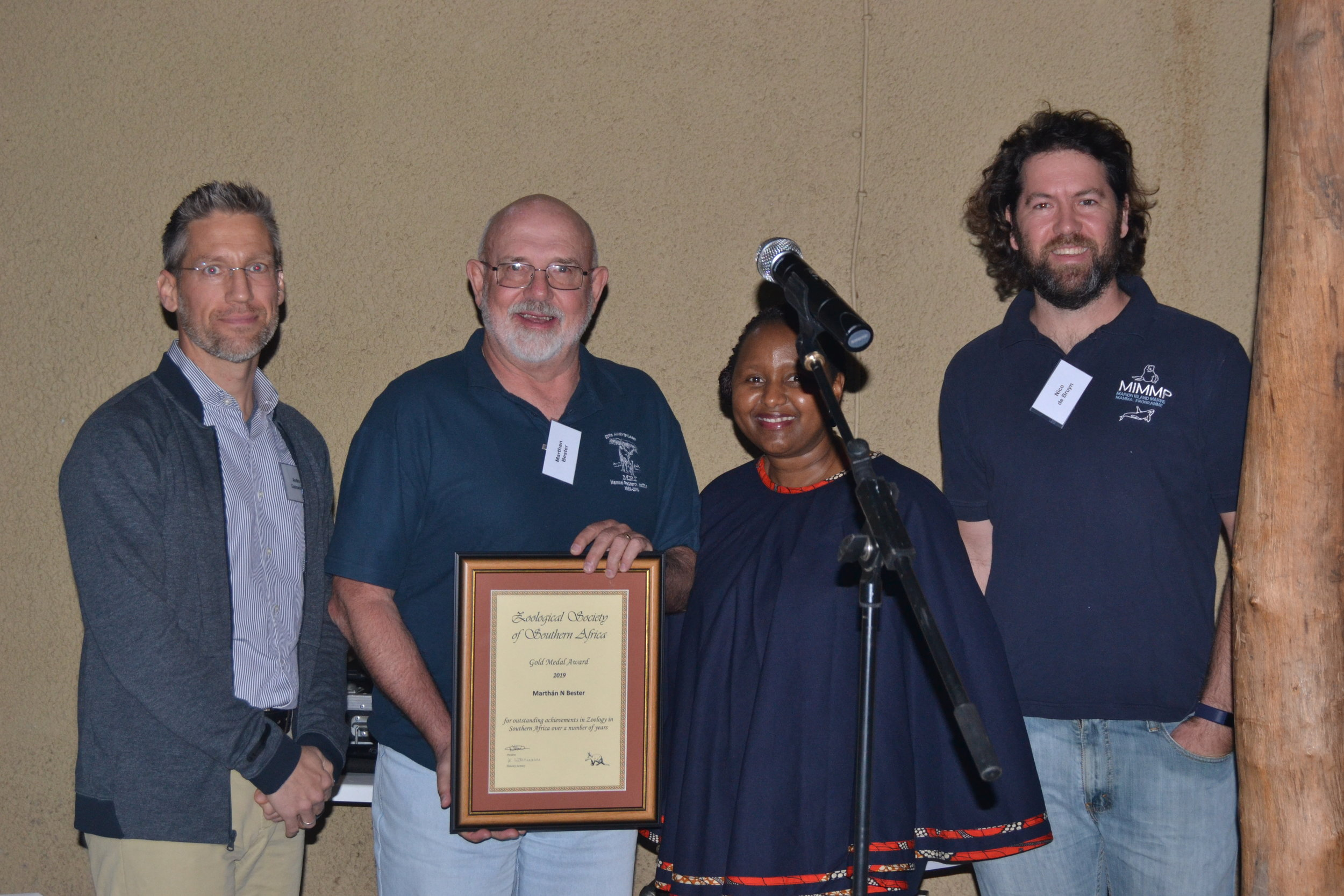 Prof Marthan Bester (2nd from the left) was awarded the ZSSA Gold Medal for his outstanding achievements in Zoology.