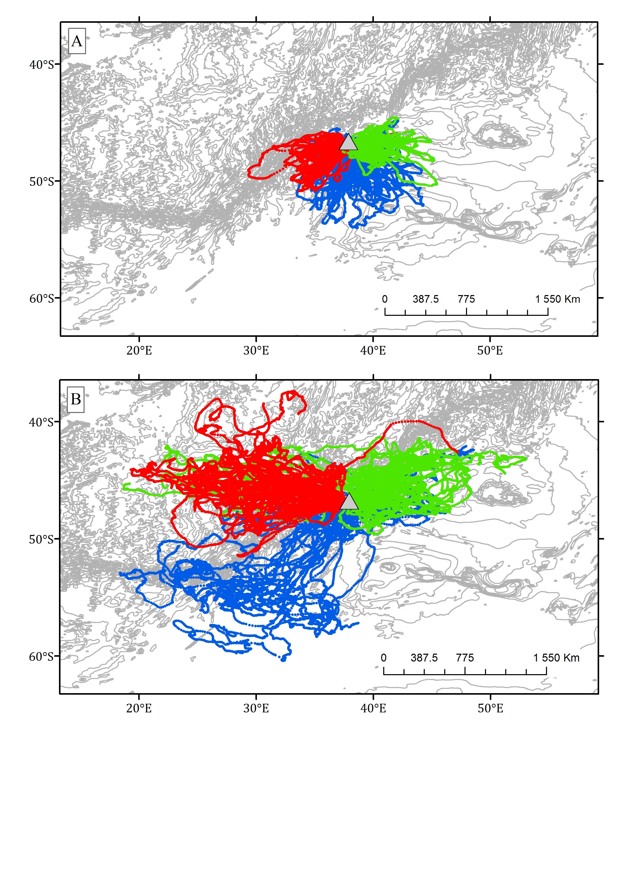 Figure 2: At-sea locations of 121 female Subantarctic and Antarctic fur seals from Marion Island, 2009-2015 during a) summer and b) winter. The different coloured dots represent the three different colonies.