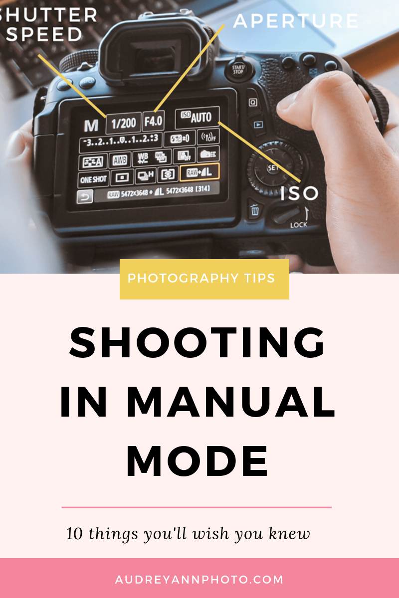 New to shooting in manual mode? This guide to manual mode for beginners will give you some tips and tricks, along with a guide to which aperture, shutter speed and ISO to use for perfect photos, whether you shoot canon or nikon.  Plus you'll get your hands on a manual mode cheat sheet to print out to help! Click through to read this photography tutorial for beginners in full