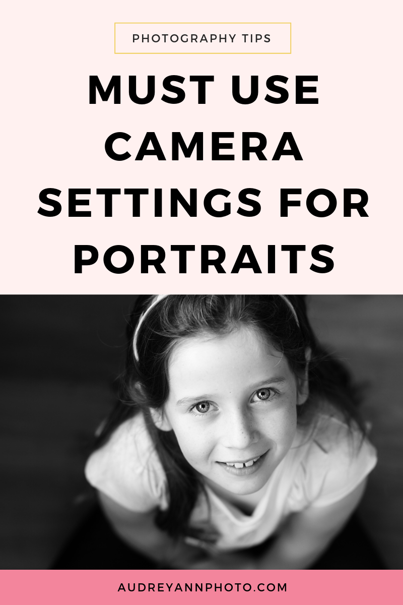 Find out the must-use camera settings for portraits in this photography tutorial! Whether you are taking an indoor or outdoor portrait, find out the camera settings you should be using - and grab yourself a camera settings cheat sheet at the same time! #phototips #photographytips #portraits