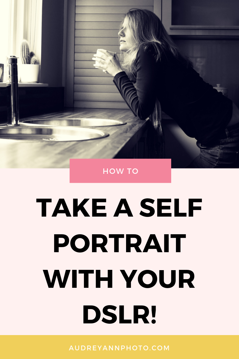 Want to take a DSLR selfie but no clue how to do it? Click through to learn how to take a self portrait step by step, along with some really useful self portrait photography tips and tricks!