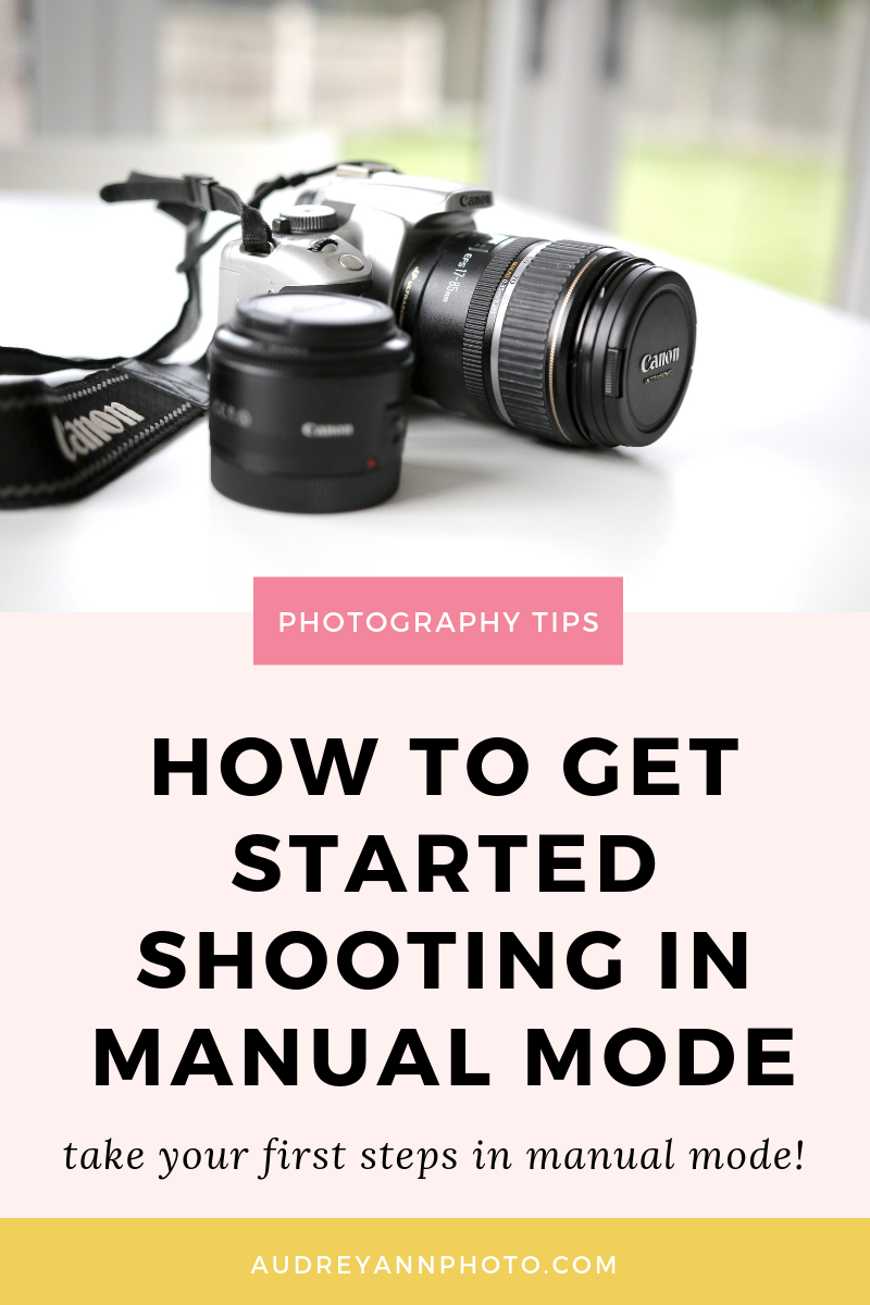 Manual mode for beginners explained in this beginner photography tutorial!  We'll cover how to switch to shooting in manual mode, step by step. Plus grab a free manual mode camera settings cheat sheet to help you!