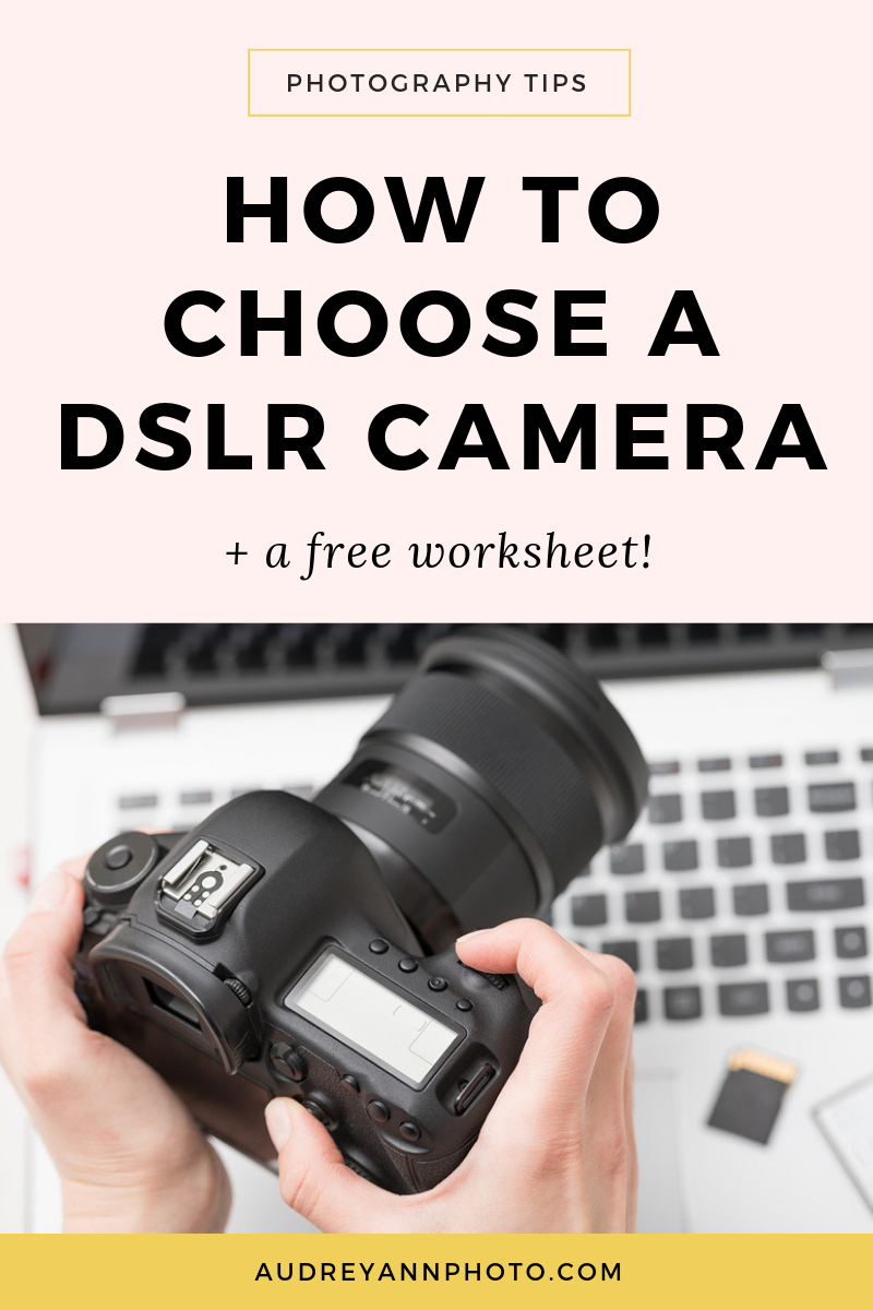 Figuring our the best DSLR camera for beginners can be tricky!  Click through to read how to choose a DSLR camera, and grab a free worksheet so you know exactly what to look for!
