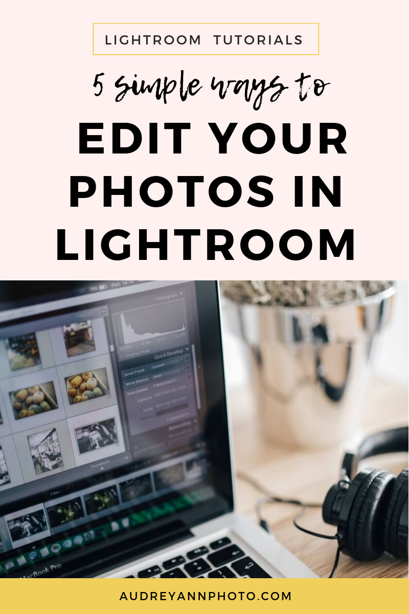 These 5 simple lightroom editing tips and tricks will teach you how to use Lightroom to enhance yoour photos.  Plus grab a free Lightroom workflow cheat sheet so you know exactly what to do when editing in Lightroom!