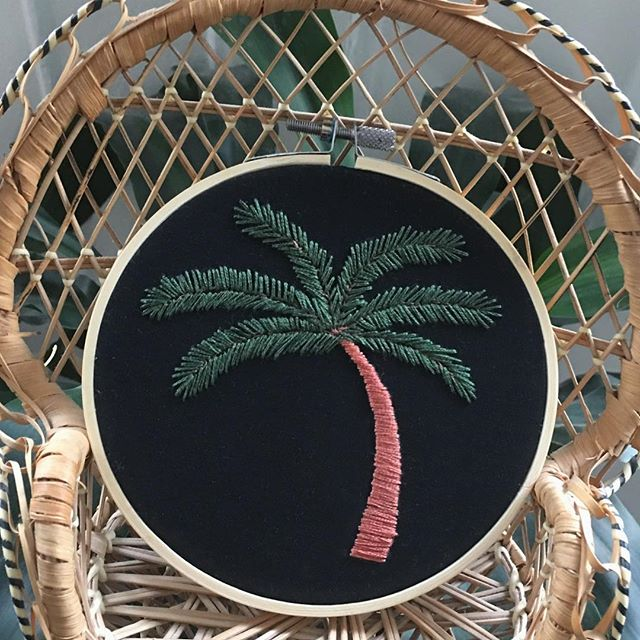 MORE PALMS! 🌴Just a reminder that all palms, mountains, and butts are stitched on UPCYCLED fabric from shorts, dresses, tops and jackets! Available! . . . . . . #MakeStitchesGetMoney #CrossStitch #BackStitch #hooploom #DIY #gangstagrams #rap #hiphop #oldschool #crafts #crossstitching #backstitching #stitching #needlework #handmade #wallart #homedecor #shophandmade #wallhanging #oneofakind #lyrics #custom #customorder #supportlocal #shopsmall #embroidery #palmtree #upcycled
