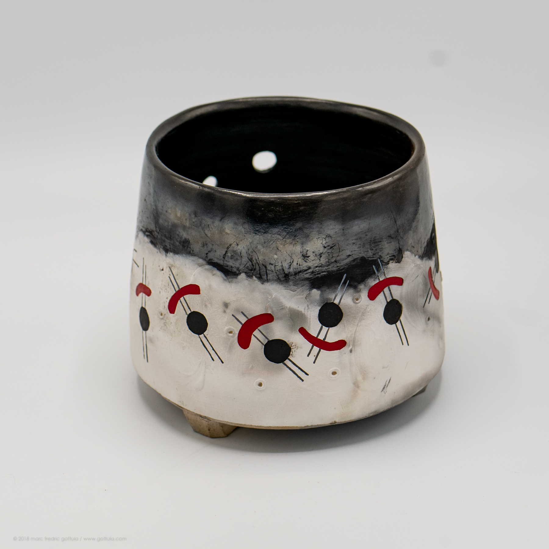 Yarn Bowl - pit fired / stoneware and porcelain