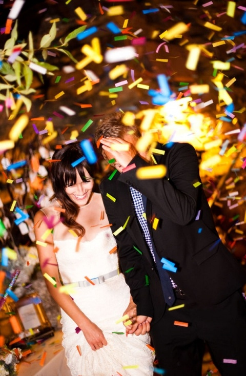 Confetti my not sound pretty, but take a look at this great send off picture! You could even customize the colors to fit into your own color scheme.