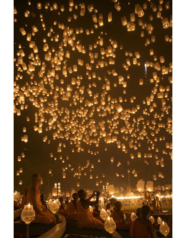 These sky lanterns are lit and released for breath taking pictures.