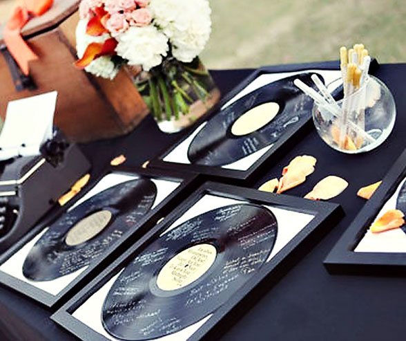 If you have a great vintage vinyl collection or just love music, this is a super creative idea for a guest book.