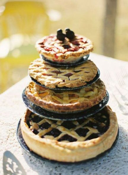 Tiered fruit pies.