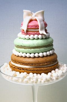 These large, tiered macaroons would look great fora whimsical wedding.