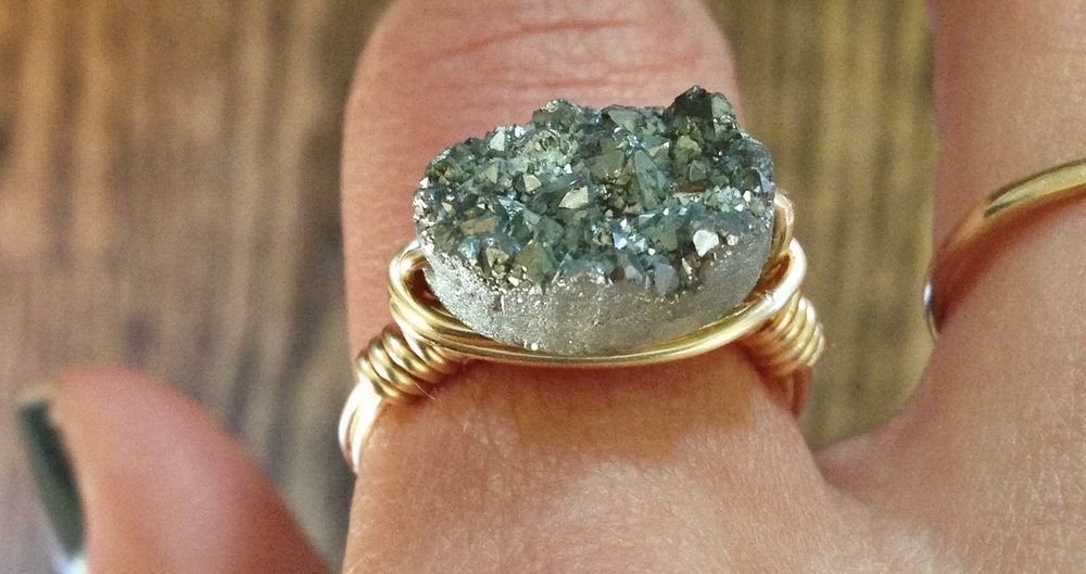 Silver Druzy Stone Ring
