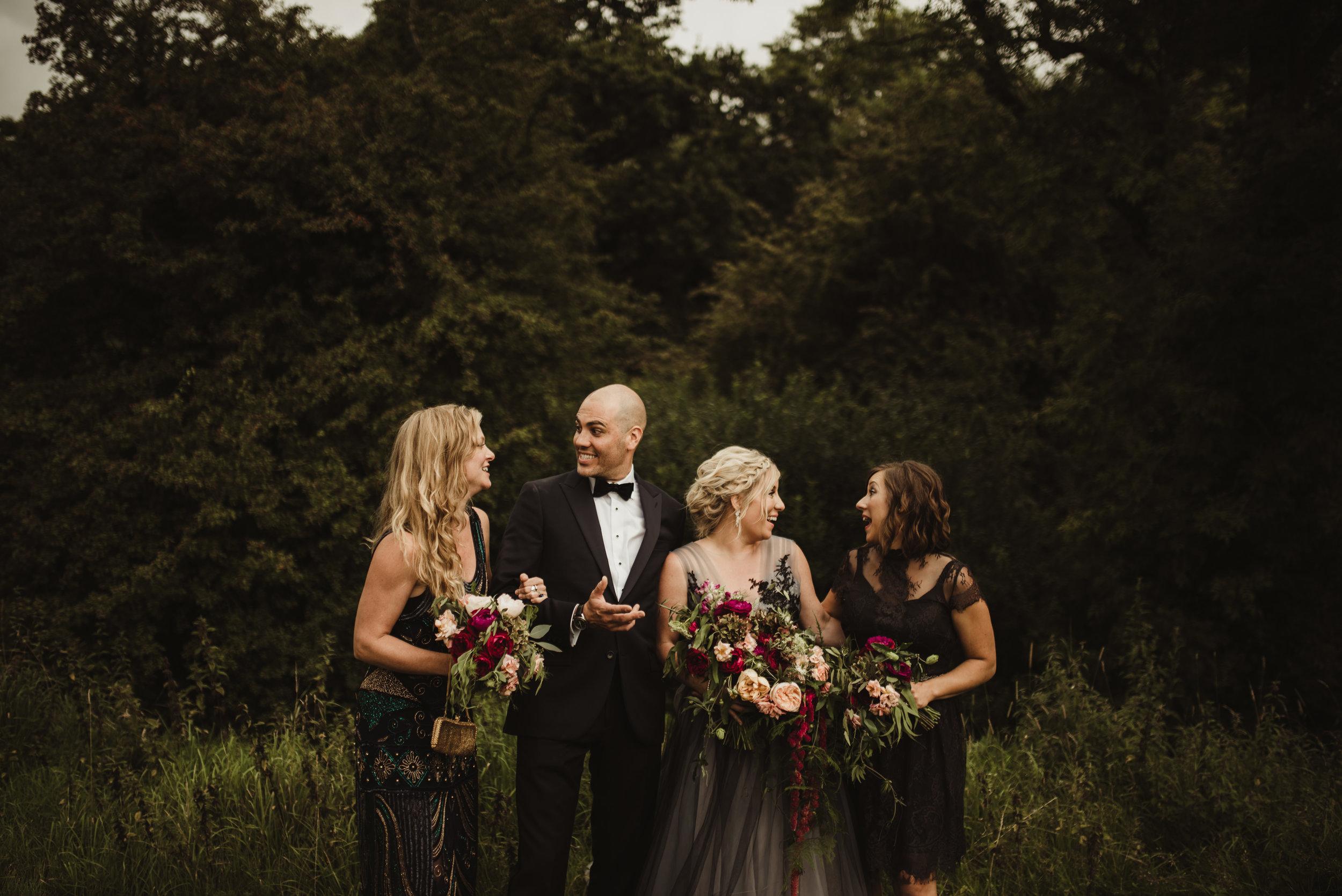 Ireland destination wedding party, black dresses