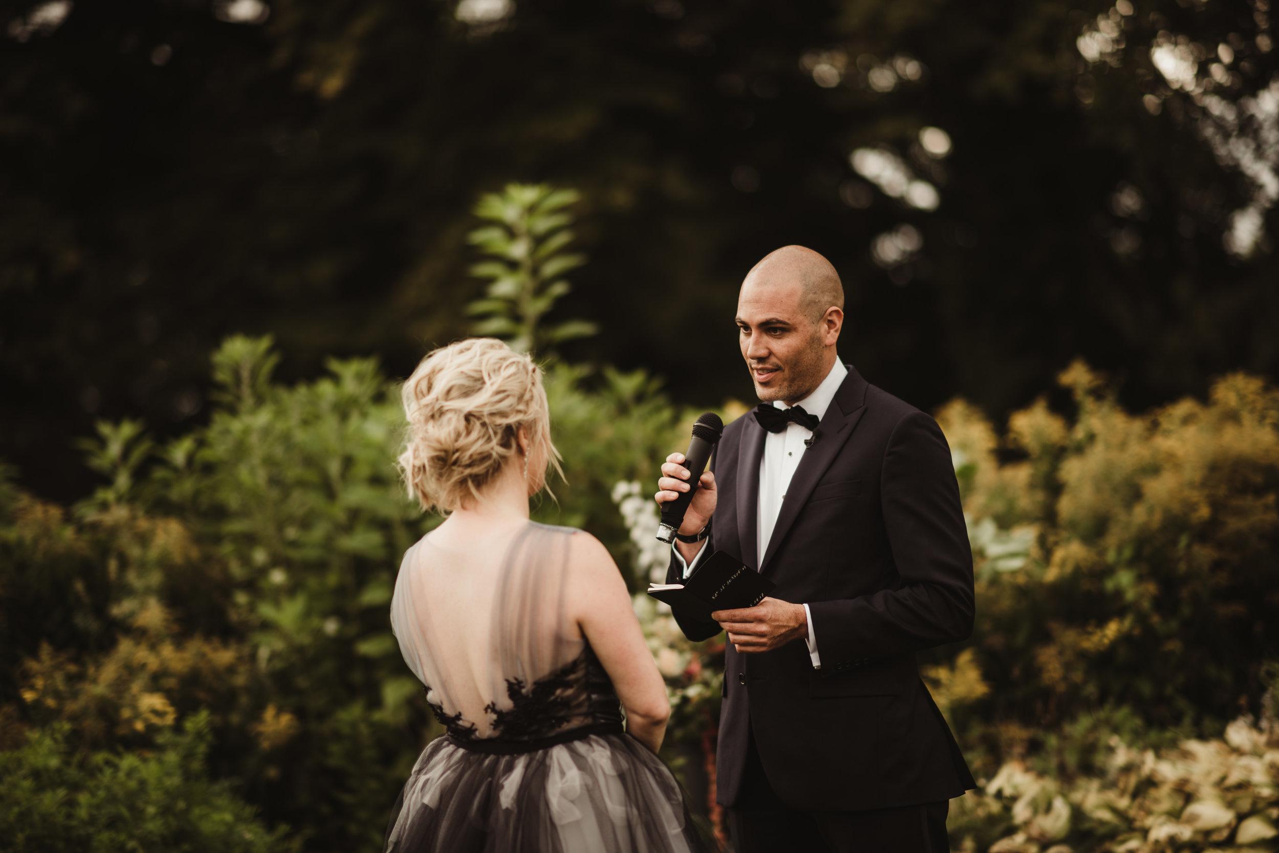 wedding vows in garden