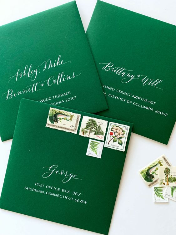 green formal envelope
