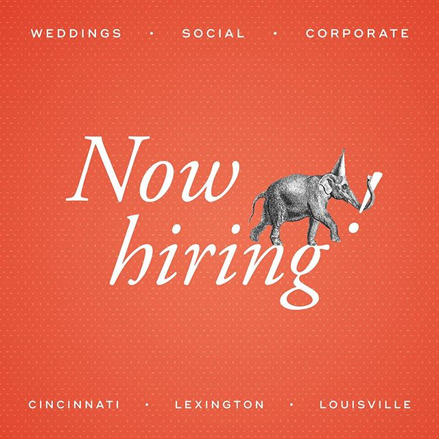 NOW HIRING! We're looking for the most awesome people to join our talented team. Check out the openings at www.lunasaevents.com/join  #cincywedding #cincinnatievents #nowhiring #jobs #teamwork #eventprofs