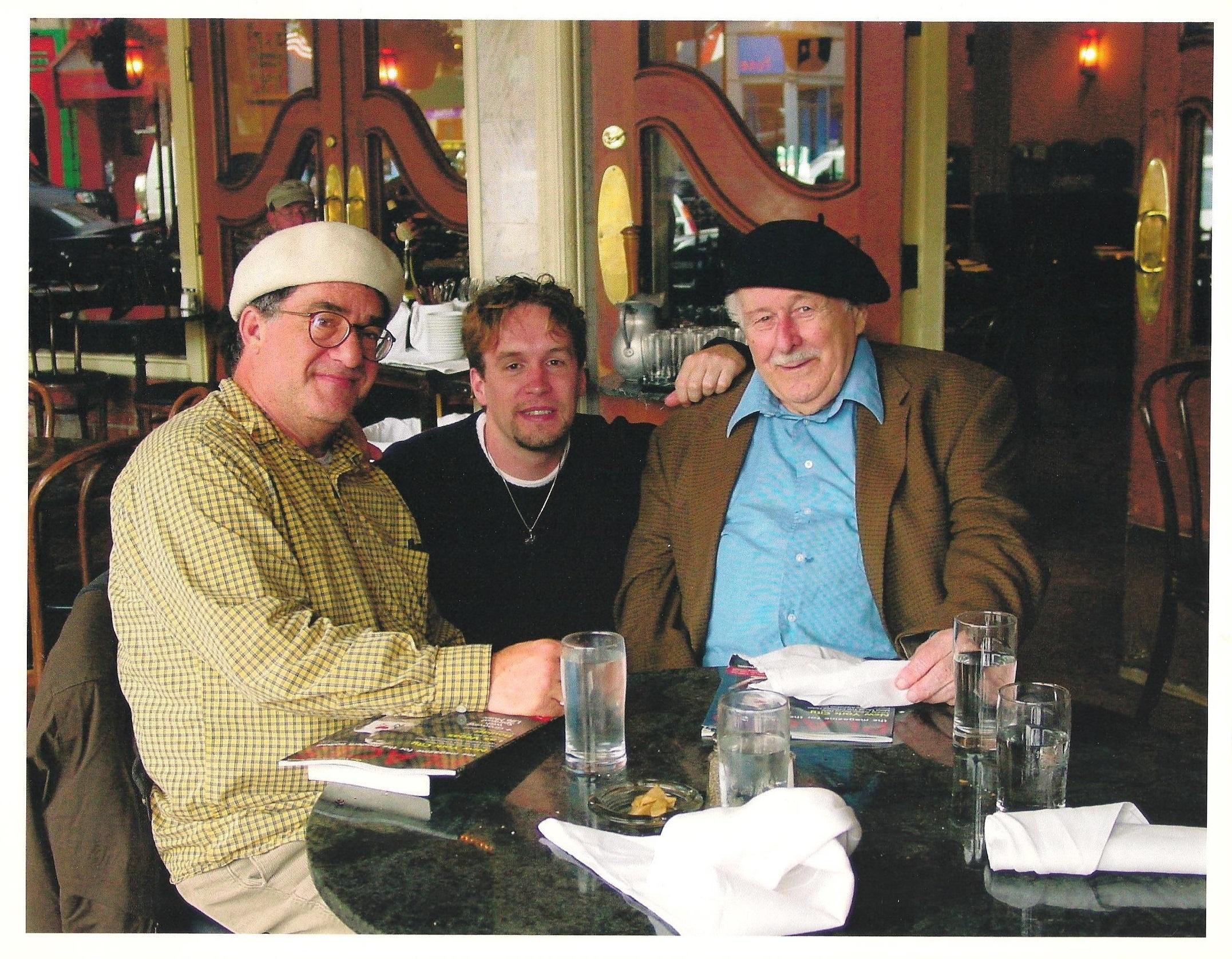 Jacob with poet Neeli Cherkovski (left) and American impresario Enrico Banducci (right) at Enrico's Sidewalk Café in North Beach, San Francisco.