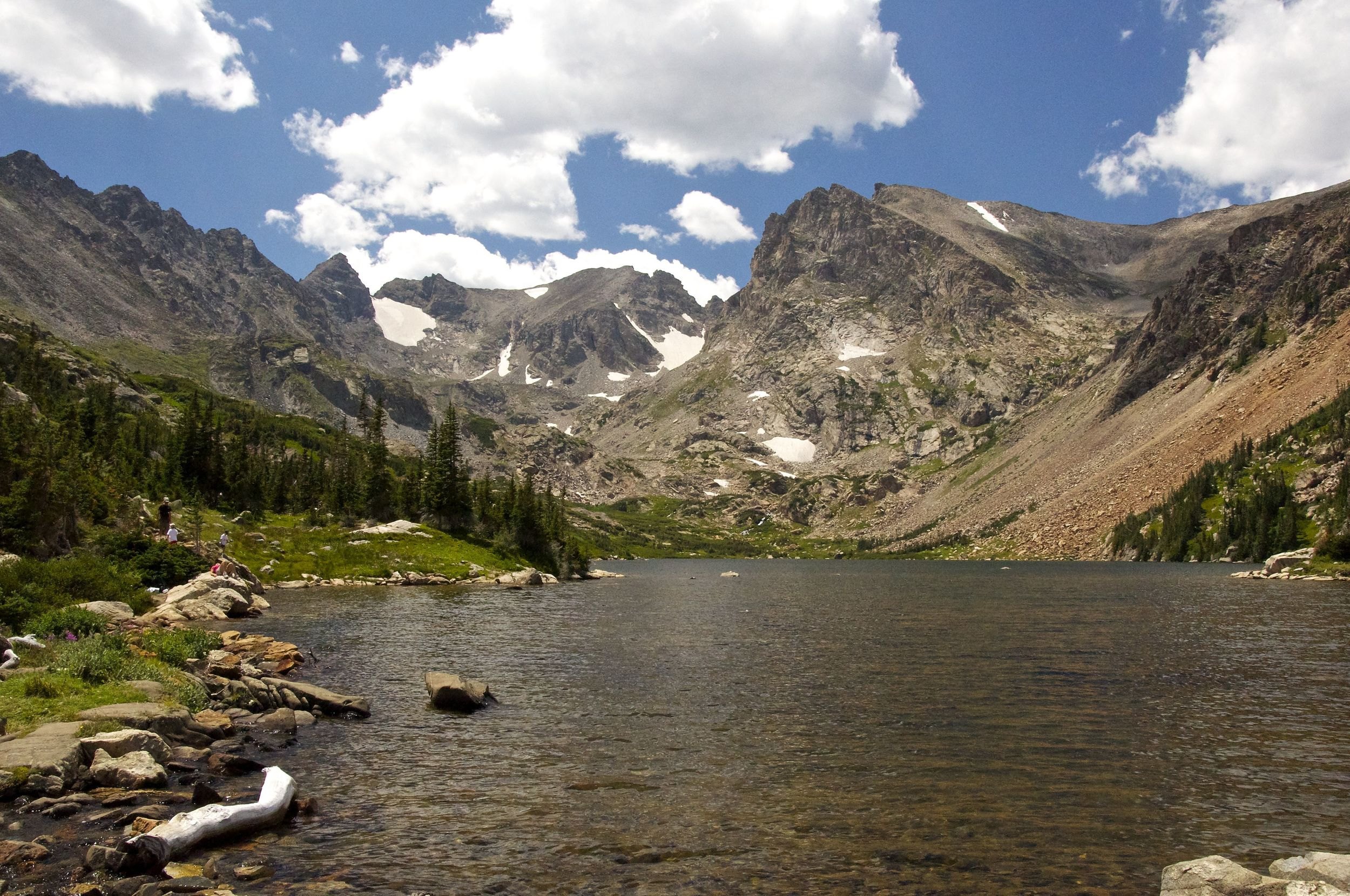 Lake Isabelle sits in the cirque of the rugged Indian Peaks