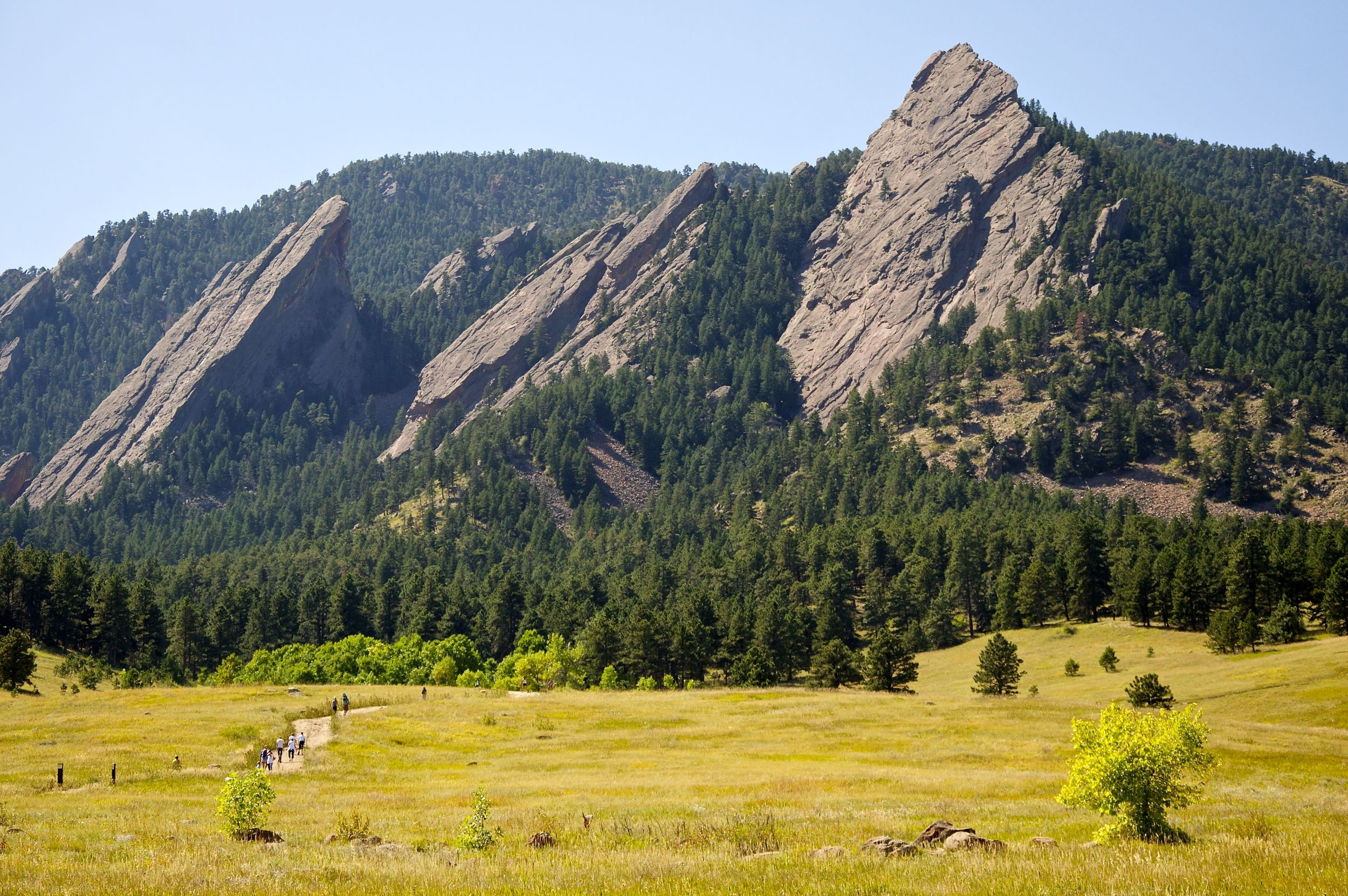From right to left, the first three Flatirons on the east slope of Green Mountain.