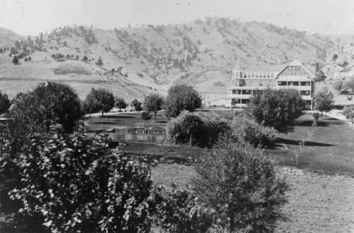 """The """"San"""" after its construction in 1896 with Mt. Sanitas in the background. - not by author"""
