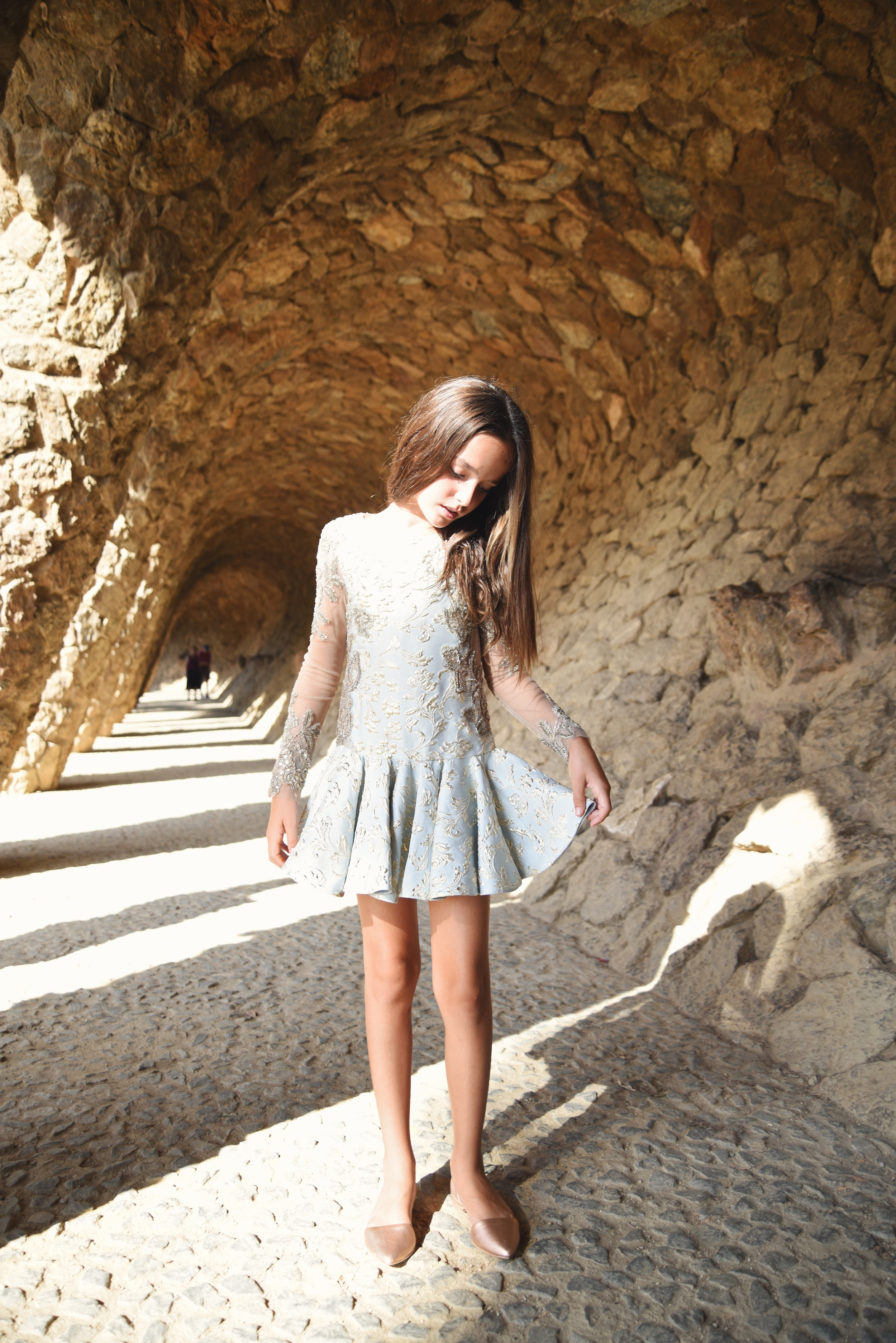 Dress:  Mischka Aoki Shoes:  Aristocrat Kids