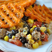 Southwestern Beef Casserole with Sweet Potato Waffle Fries Toppings