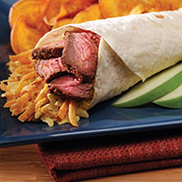 Steak Wrap with Sweet Potato Slaw