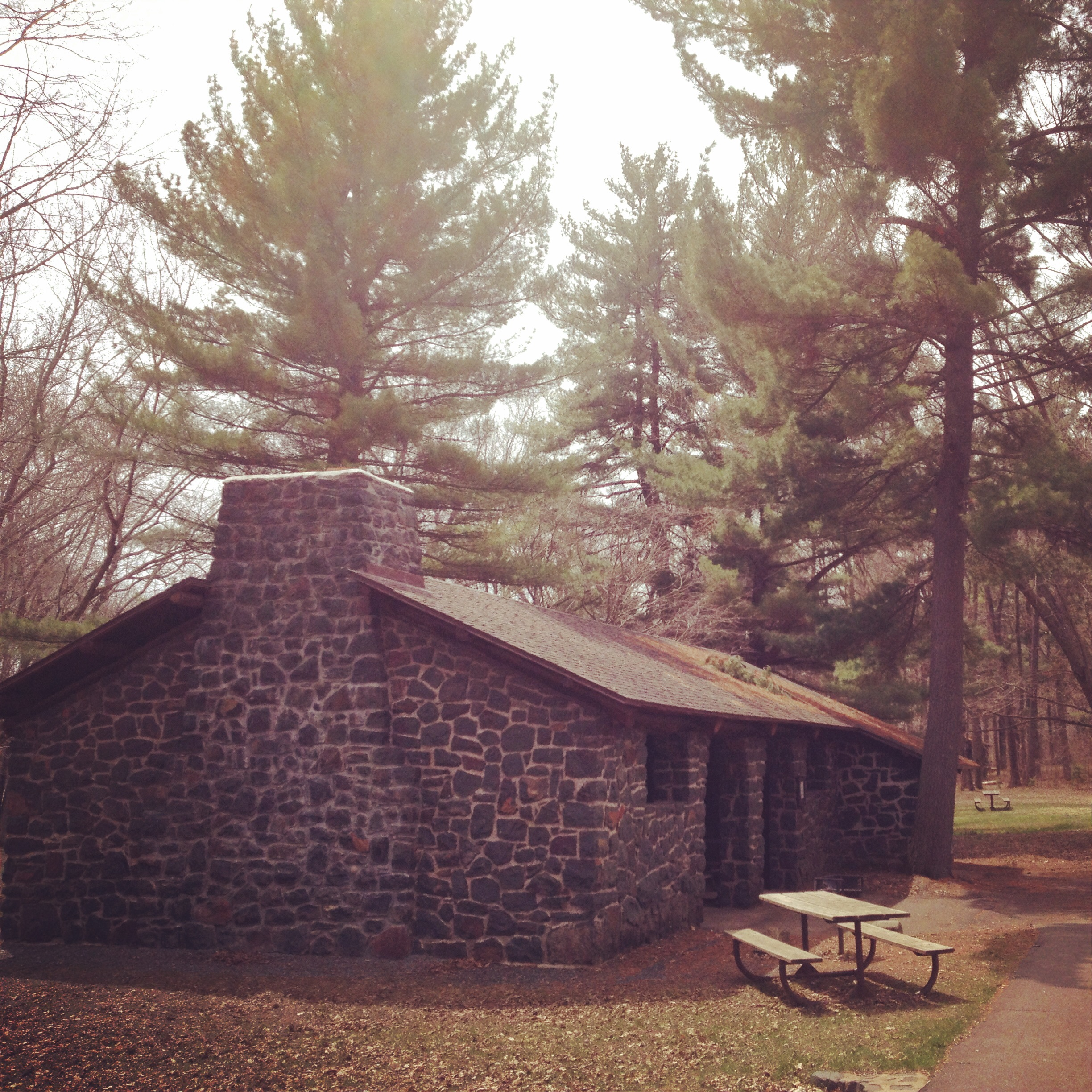 The Shelter where you'll begin the Hiking Club Trail at Interstate State Park