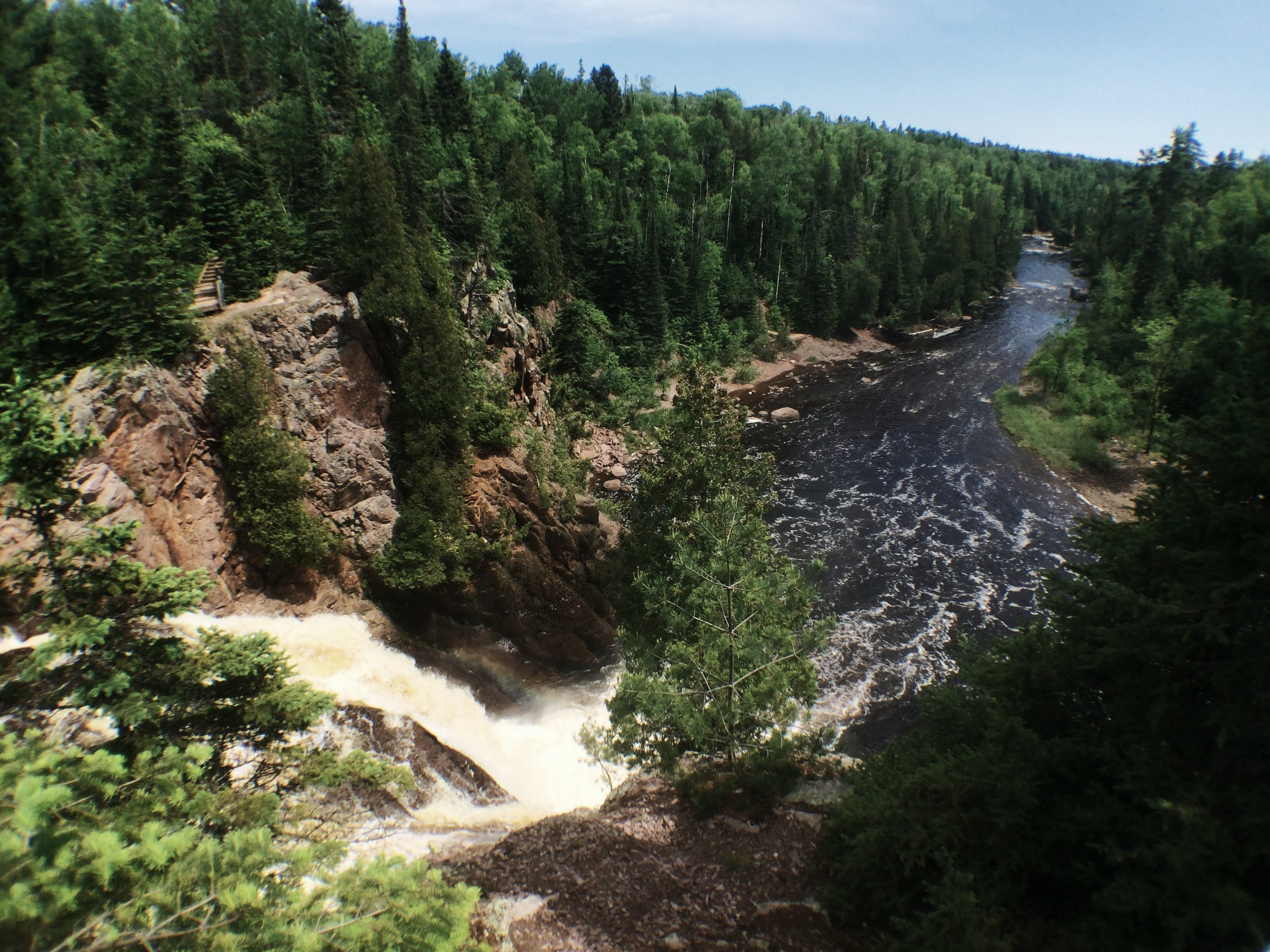 The view from the top of High Falls at Tettegouche State Park