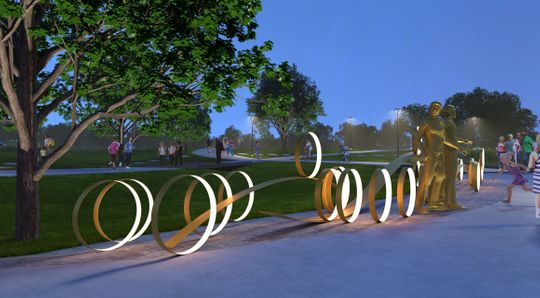 "Rendering of Gail Folwell's forthcoming ""River to ""River"" RAGBRAI commemoration; source:  The Des Moines Register"