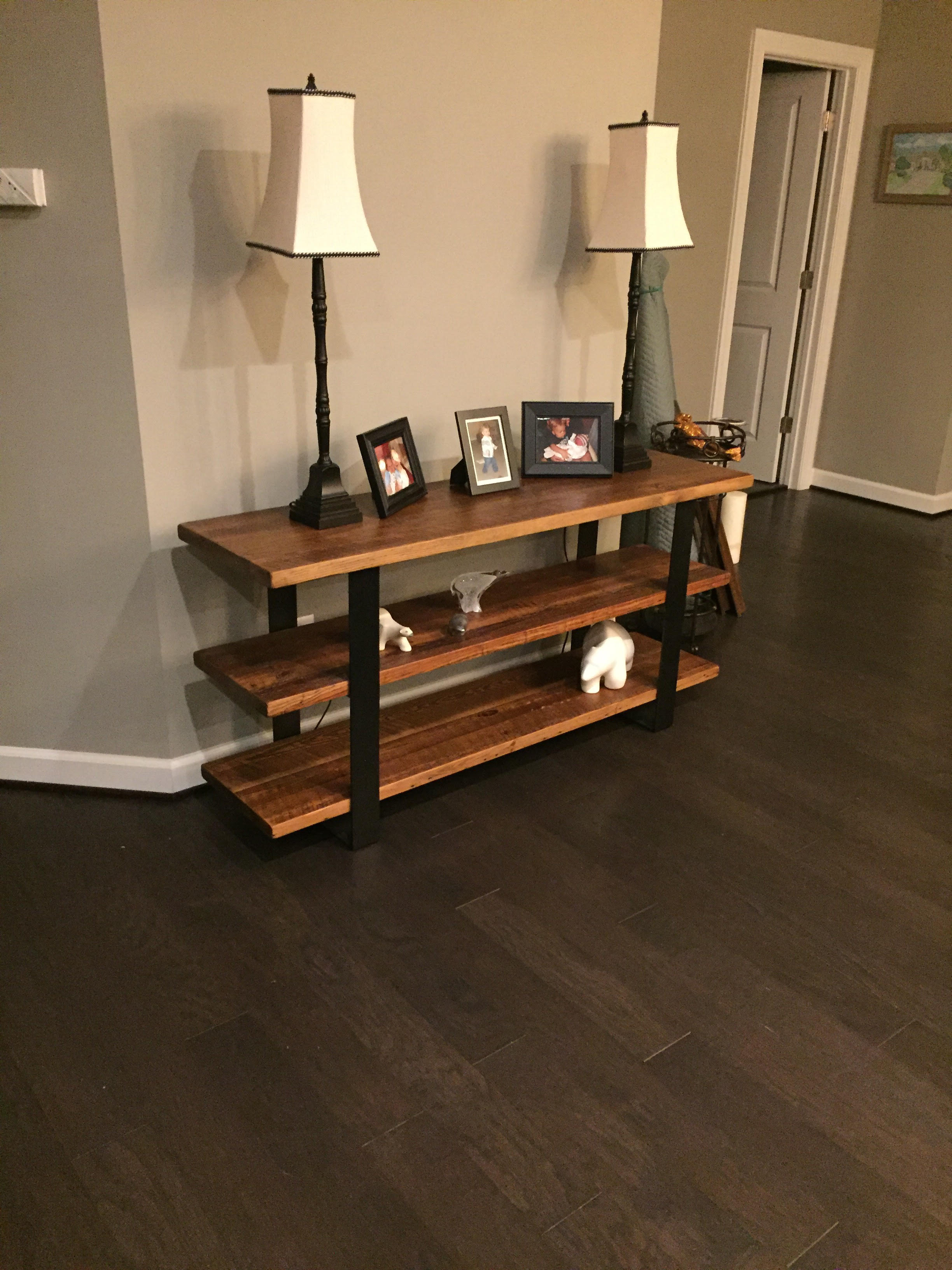 Custom Console Table with Shelves