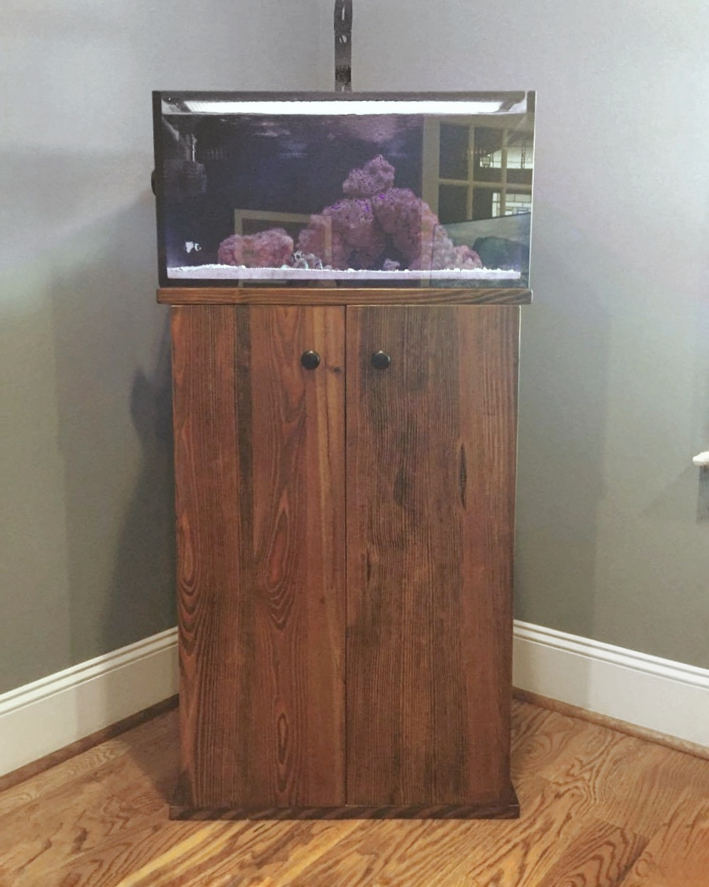 Custom solid wood aquarium stand