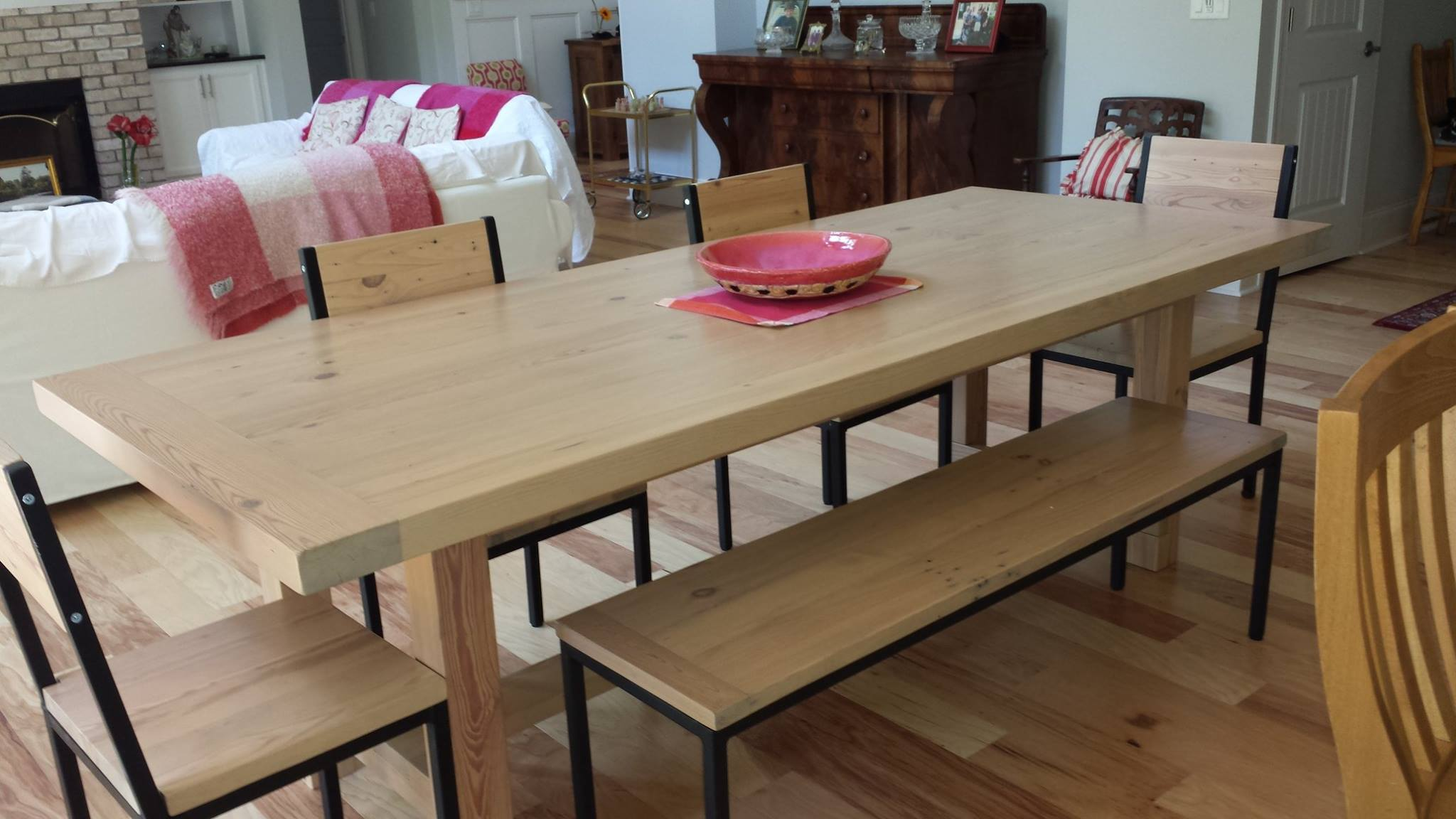 Handcrafted Wood Table with Chairs and Bench