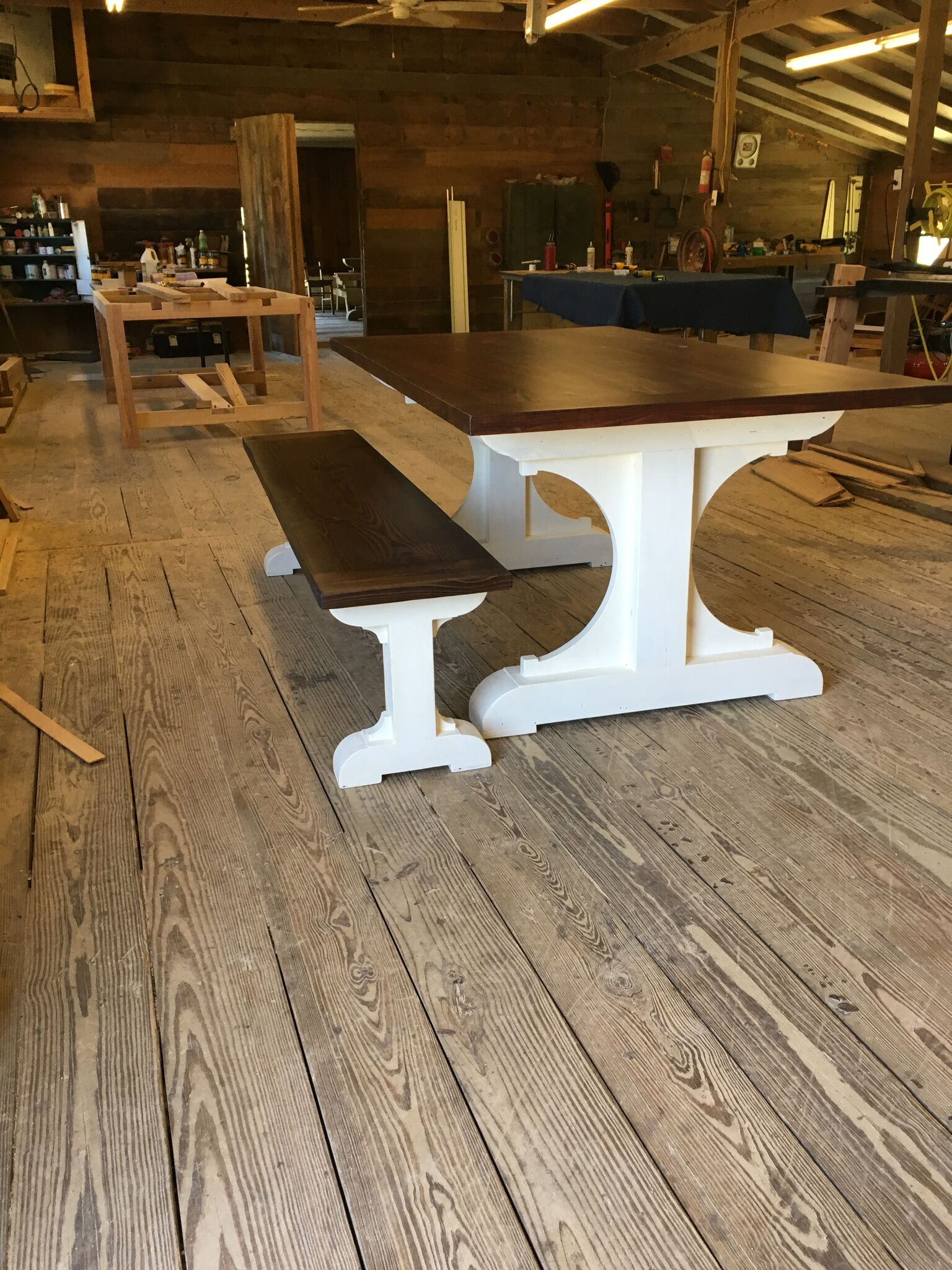 Custom Harvest Table and Bench with White Base