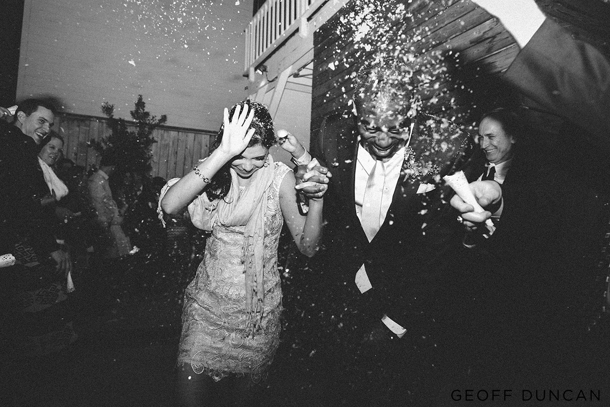 The bride and groom had an artificialsnow exit