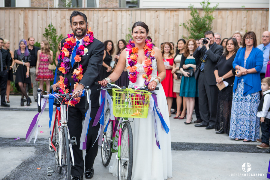 The Bride staged everything to look like they were going to exit on their bikes since they lived just down the street but then...