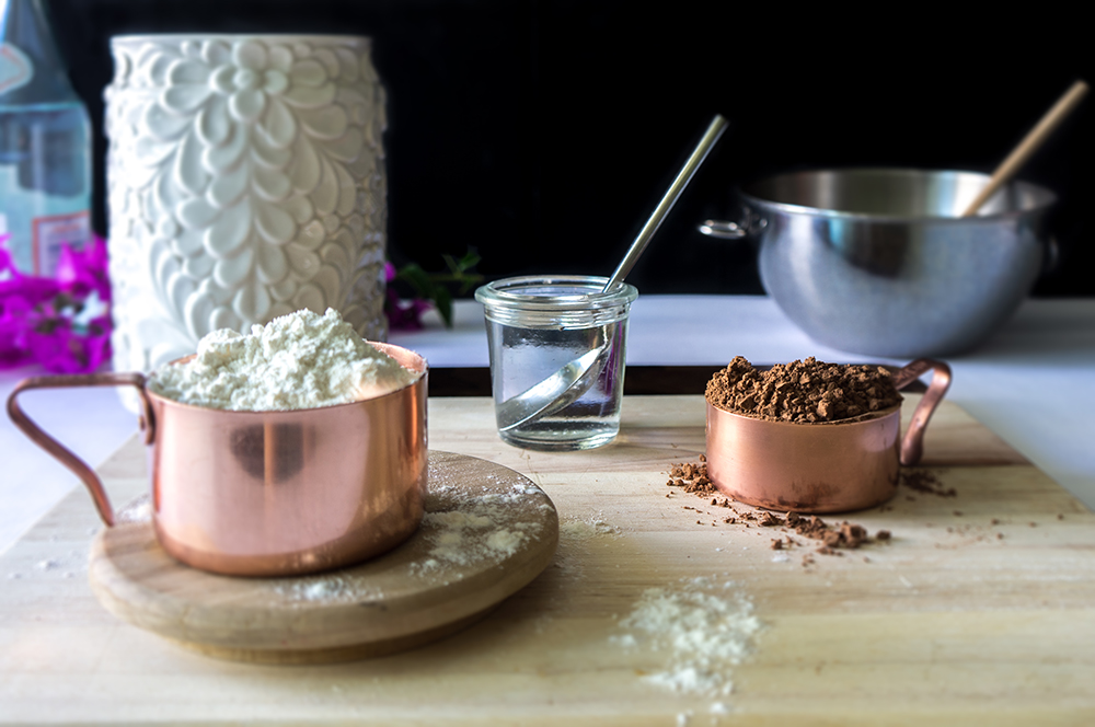 Flour and cocoa powder. How to make a cake without a mixer. Recipe for chocolate cake.