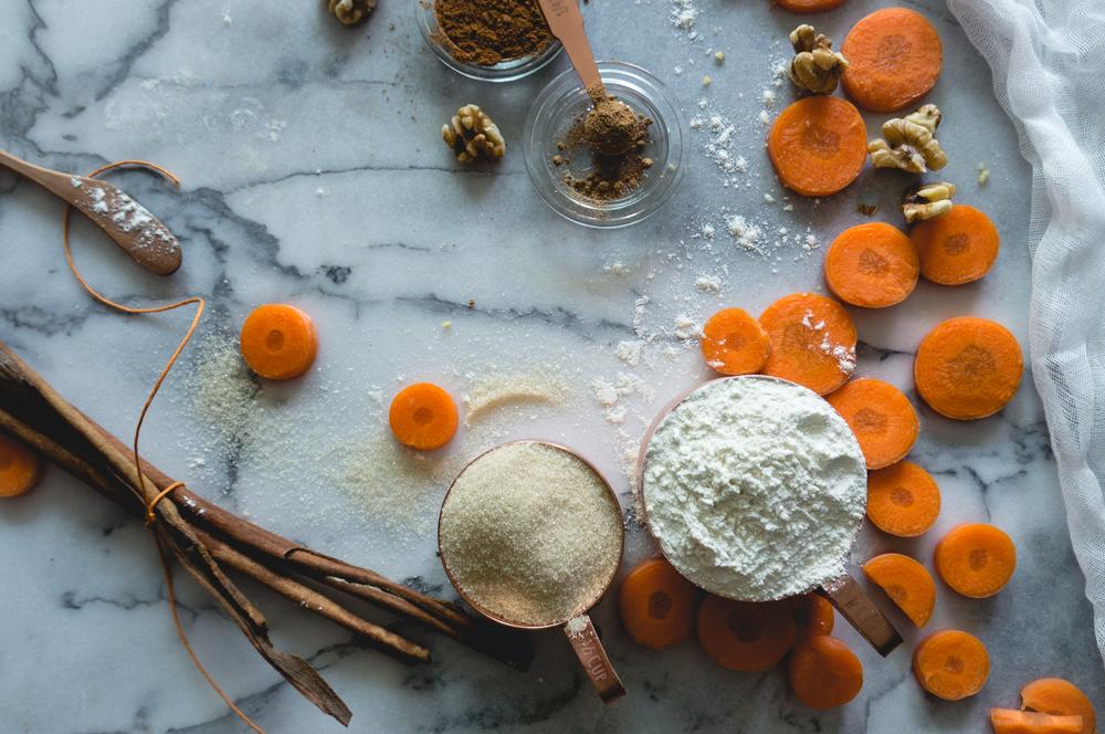 Raw sugar, cinnamon, carrots and walnuts.