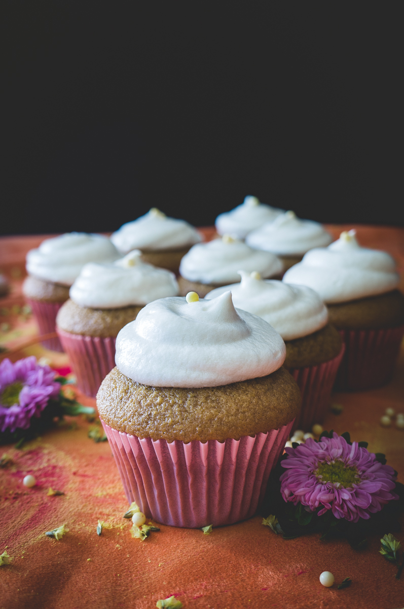 Carrot cupcakes with cream cheese maple frosting.