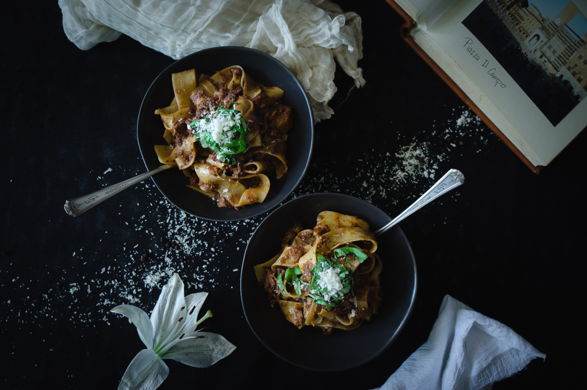 Veal ragu with pappardelle pasta