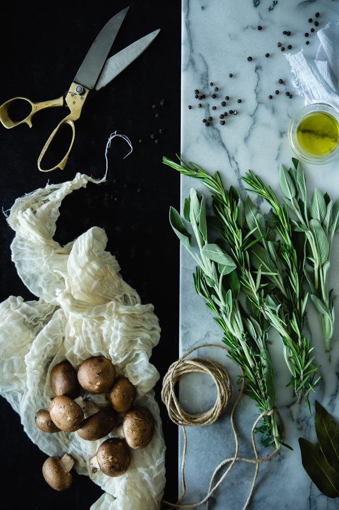 Mushrooms, sage and rosemary for the veal ragu