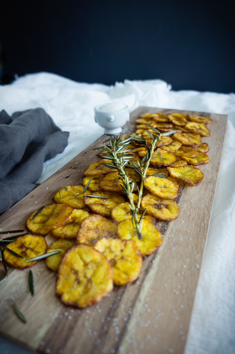 Sweet plantain chips with infused rosemary olive oil