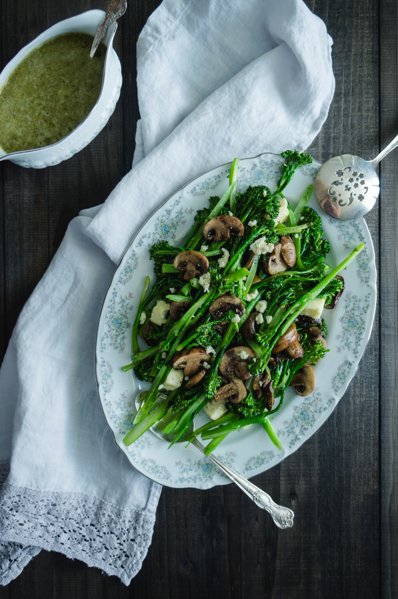 Broccolini and mushroom salad with queso blanco