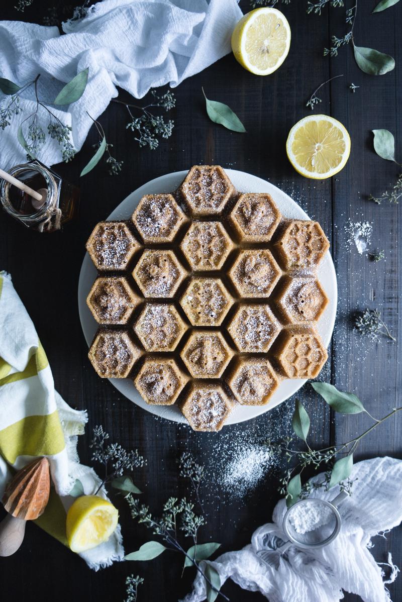 Honeycomb Cake with Honey Lemon Curd - Honey Lemon CurdHeavy cream – 2 TBSPArrowroot – 1 TBSPEggs – 2Egg yolks – 2Honey - ⅓ cupFreshly squeezed lemon juice – ½ cupUnsalted butter, softened and in pieces – 8 TBSP, 1 stickCakeUnsalted butter, softened – 6 TBSPRaw sugar – 1 ¼ cupUnbleached flour – 2 cupsBaking soda – ¾ TspBaking powder – ¾ TspCoconut milk – 1 cupFine sea salt – ½ TspVanilla paste or extract – 1 TBSPEggs – 4