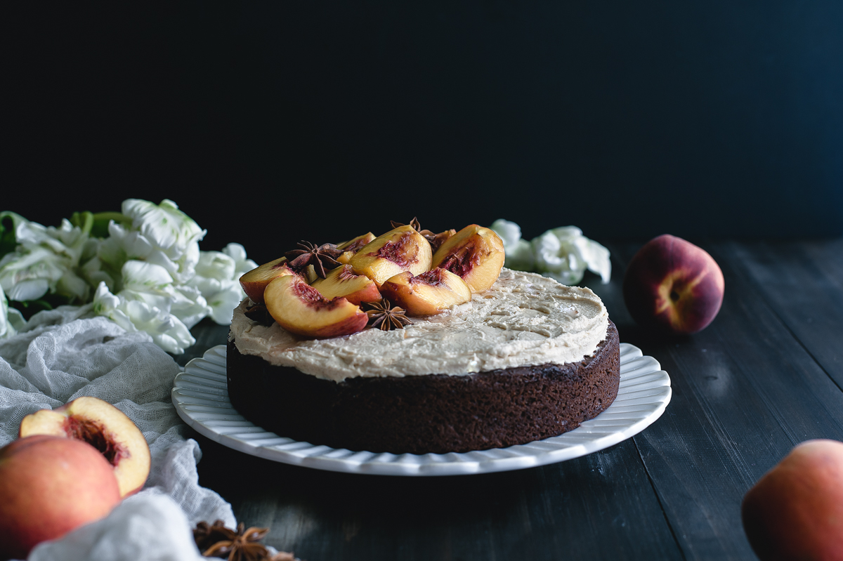 Chocolate Cake with Peanut Butter Buttercream and Balsamic Poached Peaches